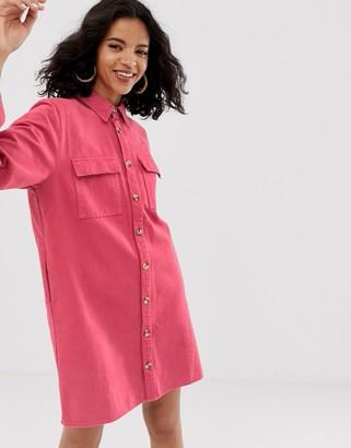 Asos oversized denim shirt dress-Cream