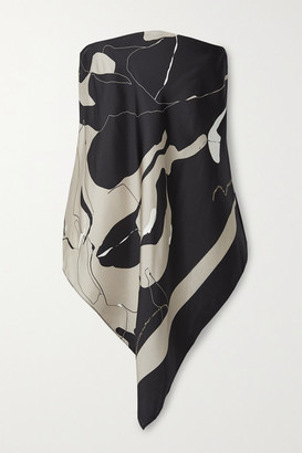 CHRISTOPHER ESBER Open-back Printed Silk-faille And Crepe Top - Black