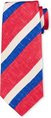 Kiton Men's Large Double-Stripe Silk Tie