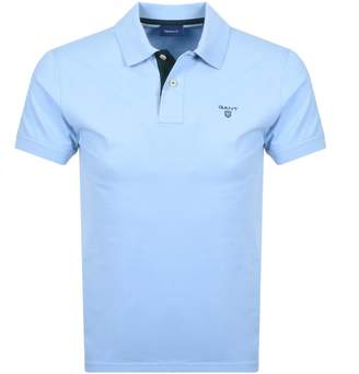 Gant Contrast Collar Rugger Polo T Shirt Blue