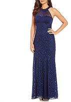 R & M Richards Halter Glitter Lace Gown