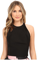 Halston Sleeveless High Neck Fitted Structured Top