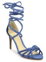 Alexandre Birman Lanna Suede & Python Ankle-Wrap Sandals