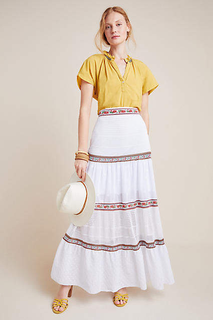 74e34bb7f509 Long Tiered Maxi Skirt - ShopStyle