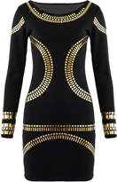 Fashion Wardrobe Womens Gold Foil Mini Dress Celebrity KIM Kardashian Bodycon (US 10-12 UK 12-14 M/L, )