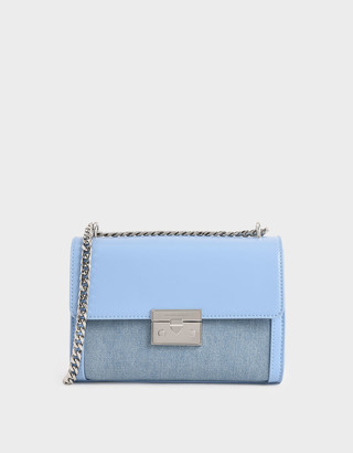 Charles & Keith Textured Boxy Chain Strap Bag