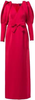 Paule Ka pleated shoulder long gown