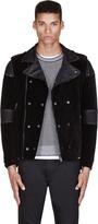 Diesel Black Velveteen & Leather Noklang Biker Jacket