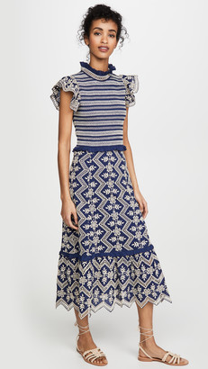 Sea Zippy Smocked Midi Dress