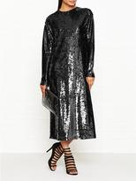 McQ All Over Sequin Relaxed Fit Long Sleeve Dress