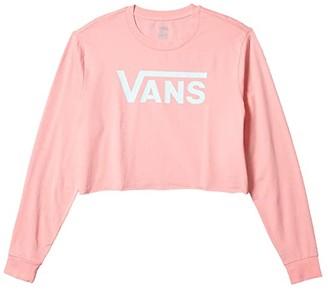 Vans Flying V Long Sleeve Crop Tee (Pink Icing) Women's Clothing