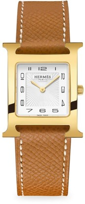 Hermes Heure H 26MM Goldplated & Leather Strap Watch
