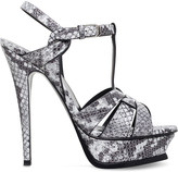 Saint Laurent Tribute 105 snake-embossed leather platform sandals