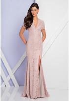 Terani Couture 1721M4317 V Neck Long Sheath Lace Dress