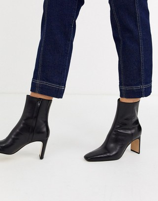 And other stories & leather almond toe high heel ankle boots in black