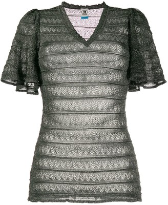 M Missoni Embroidered Lace-Panel Fitted Top