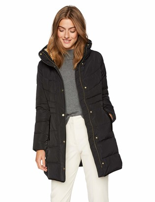 Cole Haan Women's Taffeta Down Coat with Faux Fur Collar