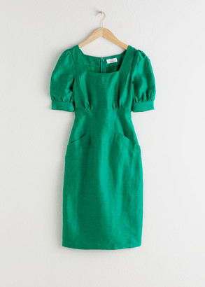 And other stories Linen Blend Puff Sleeve Dress