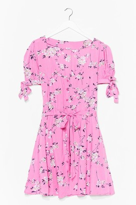 Nasty Gal Womens Shirred Bust Ditsy Floral Skater Dress - Pink - S, Pink
