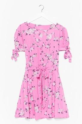 Nasty Gal Womens Shirred Bust Ditsy Floral Skater Dress - Pink
