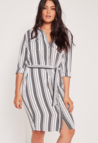 Missguided Plus Size Stripe Belted Shirt Dress White
