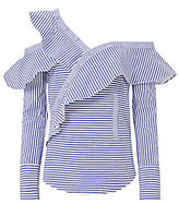 Self-Portrait Pinstriped Poplin Asymmetrical Ruffle Shirt