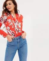 Lipsy Floral Satin Wrap Bodysuit