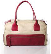 Hogan Beige Canvas Pink Leather Detail Double Strap Shoulder Handbag
