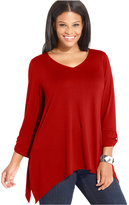NY Collection Plus Size Roll-Tab-Sleeve Handkerchief-Hem Top