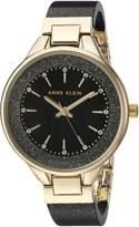 Anne Klein Women's Quartz Metal and Resin Dress Watch, Color:Black (Model: AK/1408BKBK)