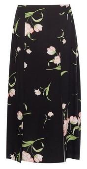 Dorothy Perkins Womens Black Floral Print Side Split Midi Skirt, Black