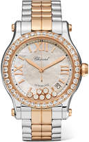 Chopard Happy Sport 36 18-karat Rose Gold, Stainless Steel, Diamond And Mother-of-pearl Watch