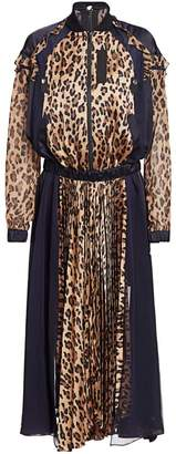 Sacai Leopard Satin & Chiffon Pleated Dress