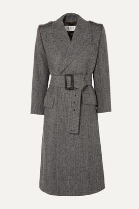 Saint Laurent Belted Herringbone Wool Coat - Gray