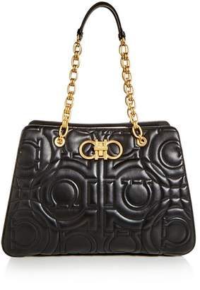 Salvatore Ferragamo Large Gancini Quilted Leather Tote