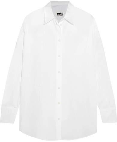 MM6 MAISON MARGIELA Faux Pearl-embellished Cotton-poplin Shirt - White