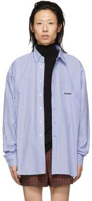 Vetements Blue and White Stripe Metal Ring Shirt