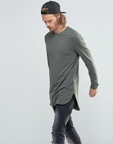 Asos Super Longline Long Sleeve T-Shirt With Side Splits In Khaki