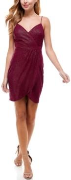 City Studios Juniors' Tulip-Skirt Wrap Dress