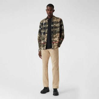 Burberry Classic Fit Icon Stripe Detail Cotton Satin Chinos