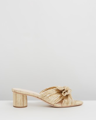 Loeffler Randall Women's Gold Mid-low heels - Emilia Pleated Knot Mules - Size 6 at The Iconic