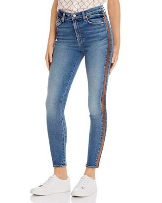 7 For All Mankind Shimmer Stripe Skinny Ankle Jeans in Luxe Vintage Muse 3