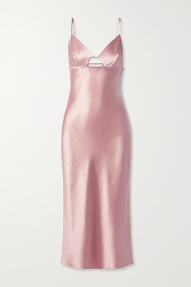 Fleur Du Mal Cutout Silk-satin Midi Dress - Blush