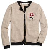 Brooks Brothers Merino Wool Flower Cardigan