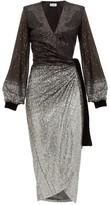 Raquel Diniz Jade Degrade-sequinned Wrap Dress - Womens - Black Silver
