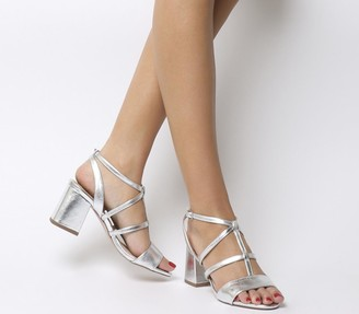 Office Monarch Caged Block Heels Silver