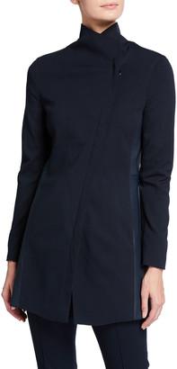 Akris Punto Jersey Asymmetrical Biker Jacket w/ Leather Panels