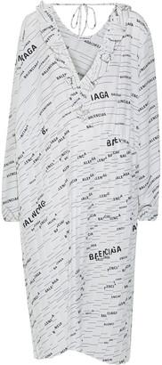 Balenciaga Asymmetric Ruffle-trimmed Printed Silk-crepe Midi Dress