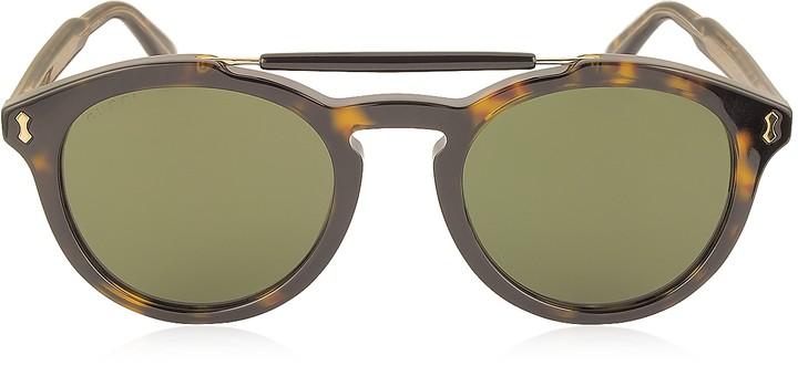 Gucci GG0124S Acetate Round Aviator Men's Sunglasses