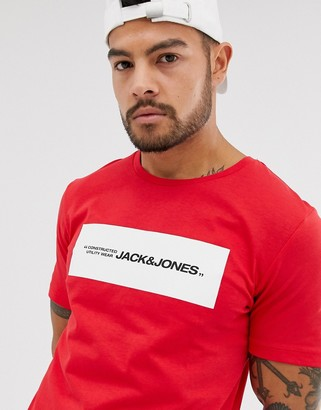 Jack and Jones Core printed logo t-shirt in red
